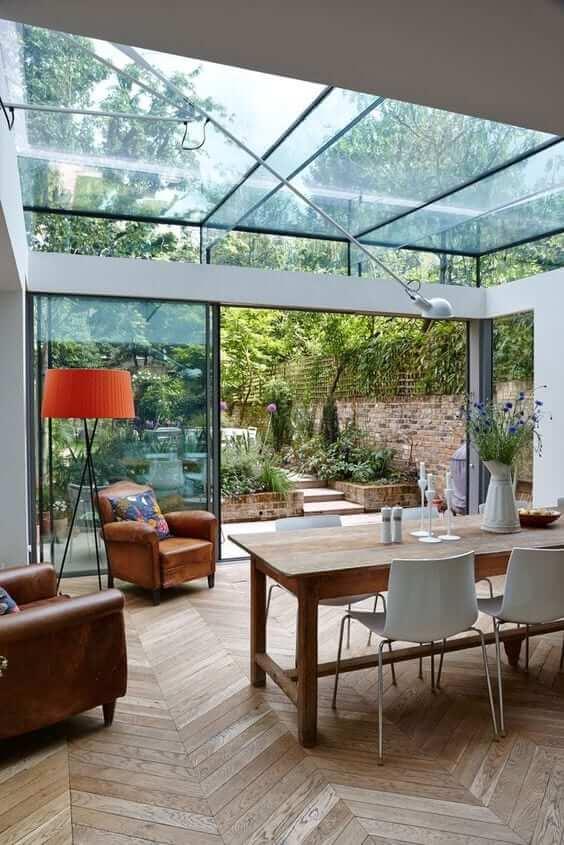 Modern wooden conservatory floor